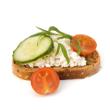 Open-faced jerk vegetable sandwich